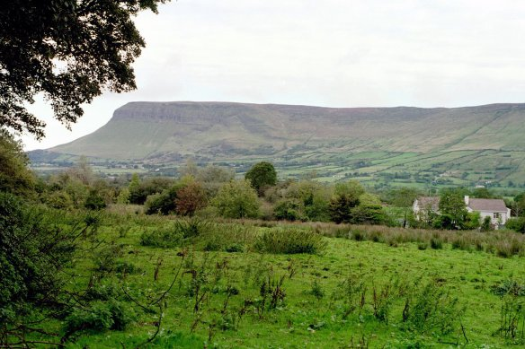 A view of Ben Bulben, the massive table mountain, near Drumcliffe, 2003.