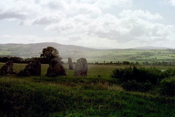 Another view from inside the circle. The stone in the distance is separate from the circle, though it certainly had some function in relation to ceremonies carried on at the circle.