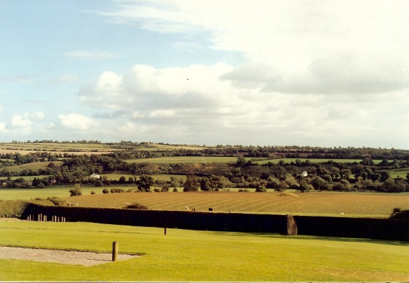 There are several mounds in this photo, not all of them easy to see. But you can click to enlarge and zoom in. At Newgrange 2003.