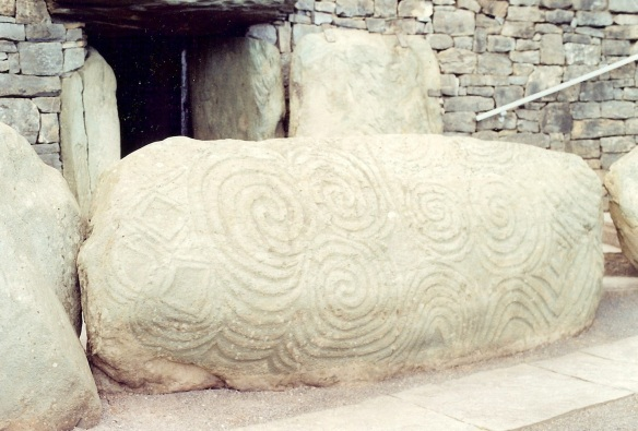 The kerbstone at the entrance to Newgrange.