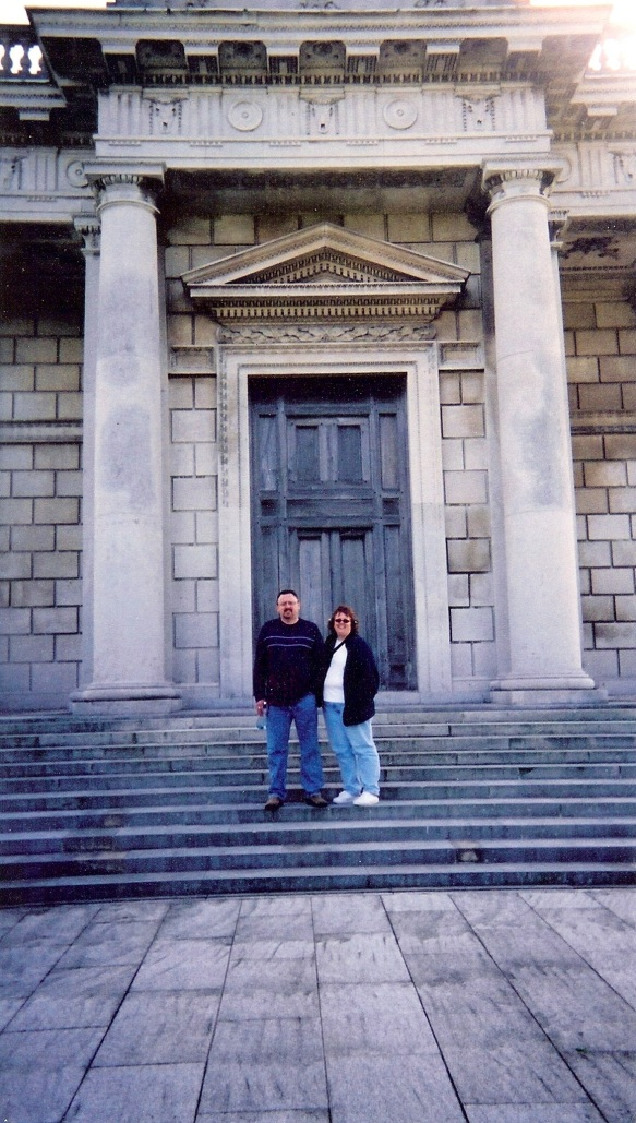 Gerry and I at the front door of the Casino at Marino. Note that the part that opens is the size of a normal door (the two center panels); the rest is to complete the illusion.