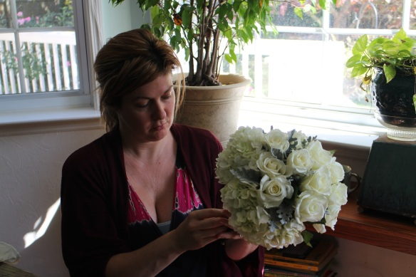 Jenny constructs a beautiful bouquet.