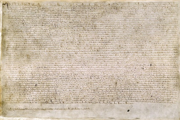 One of 4 known surviving 1215 exemplars of Magna Carta. (From Wikipedia; provided by the British Library.)