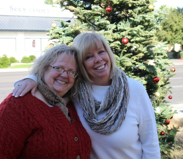 Me and Cindy in front of the outdoor Christmas tree.