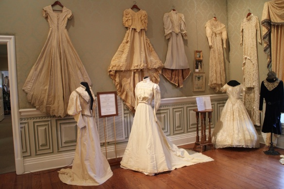 The room was arranged chronologically. The oldest dresses are on the left in this photo.