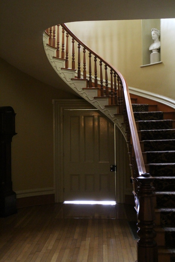 The grand staircase was a part of the final Italianate addition.