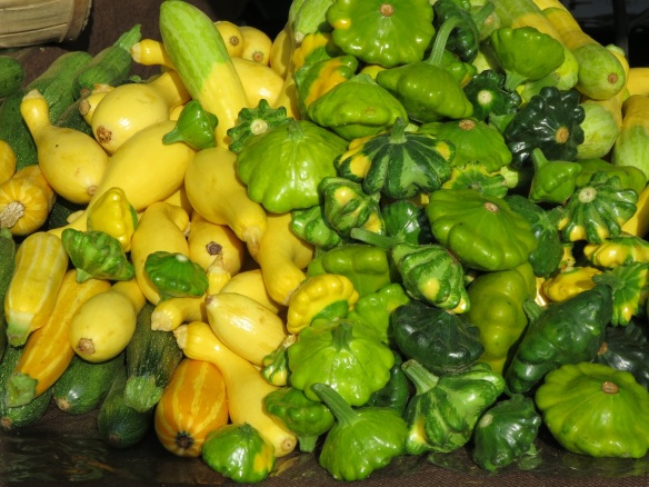 Colorful patty pan squash, yellow crookneck squash, zucchini, and others whose names I don't know.