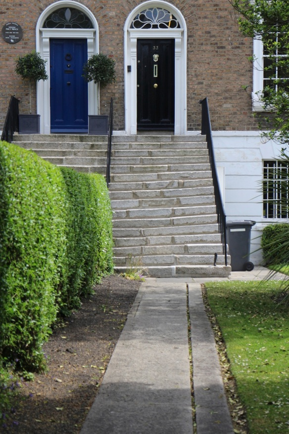 On Mespil Road, along the canal, Georgian rowhouses that are now business offices. These crooked stairs delighted me.