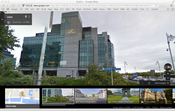 Screen capture of Google Maps street view. Interesting/strange logo. I find it a little creepy.