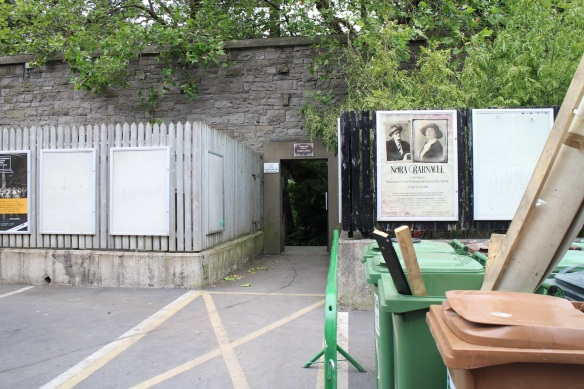 It's a hole in that twenty-foot wall. The sign above it reads Iveagh Gardens in Irish and English. (Click and you can zoom in.)