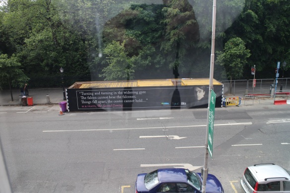 Looking out at Stephen's Green across the street, I saw this: a temporary housing for equipment used on street work … decorated with a full-size W. B. Yeats poster. Seriously—only in Ireland.
