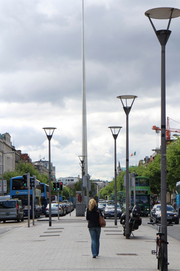 O'Connell Street, with the spire in the distance.
