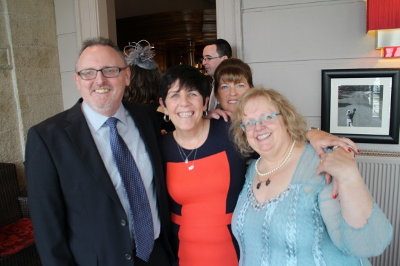 L–R: Gerry, Ann (Paddy O's wife), Carol (Paddy M's wife) behind her, and me. That's my friend Robert in the back.