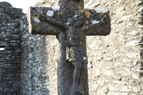 This grave is inside the South Church, which means iut is much newer. I'm guessing Victorian era, since this is an overly sentimental depiction of the Crucifixion.