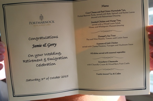 The hotel does such a nice job with the menu.