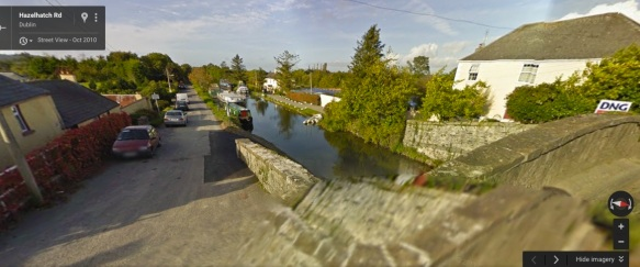A view of the canal, the wall, and the curved bridge. I screen-grabbed this from Google Maps too.