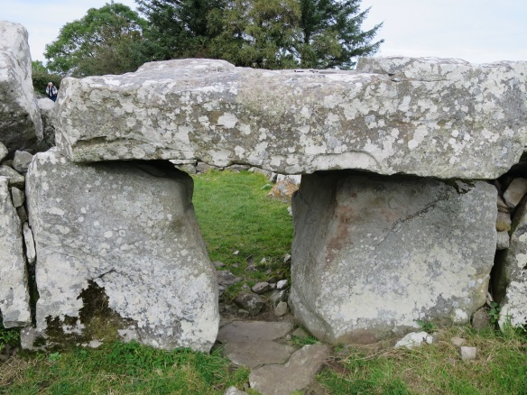 The site was excavated in 1935, and the lintel stone, which once stood upright, was placed on its side, atop the two portal stones.