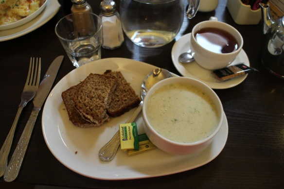 Leek and potato soup with brown bread. Just what I needed. Along with copious amounts of tea.