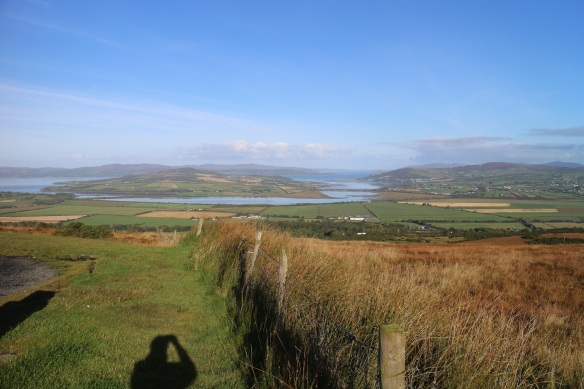 Standing on the edge of the parking lot, looking north at Inch Island, the communities of Tooban and Burnfoot to the east of the island, and Drongawn Lough to the south and west of Inch. The fort is behind us.