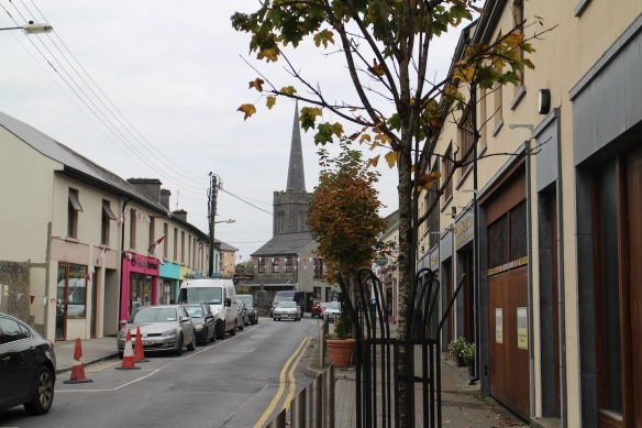 This is downtown Athenry, with its medieval-narrow streets. That's St. Mary's parish church in the background.