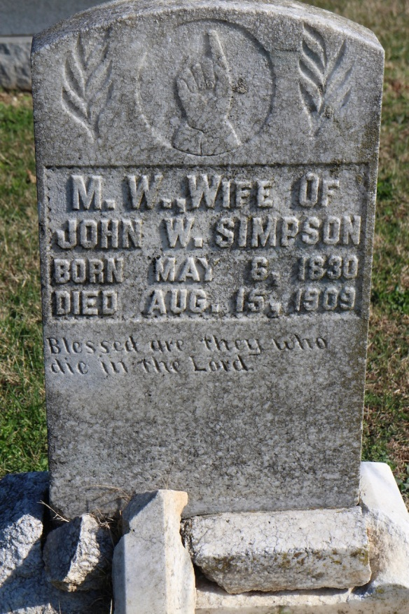 This woman, a Simpson by marriage, didn't even get her name on her grave stone—just her initials, although her husband in mentioned by name. But she must have been pious.