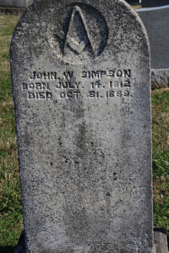 Here's here husband. He was a Mason, apparently. His wife, M. W., lived 20 years without him.