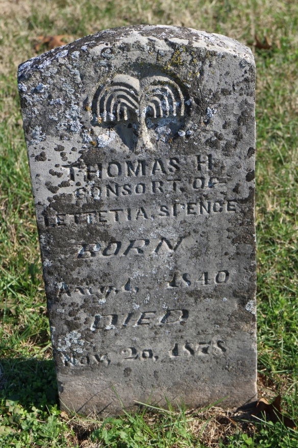 "Isn't this wording interesting? ""Thomas H., consort of Lettetia Spence"" … And what kind of tree is that?"