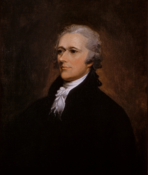 This 1806 portrait of Alexander Hamilton by John Trumbull (1756–1843) hangs at the Washington University Law School; the image is in the public domain.