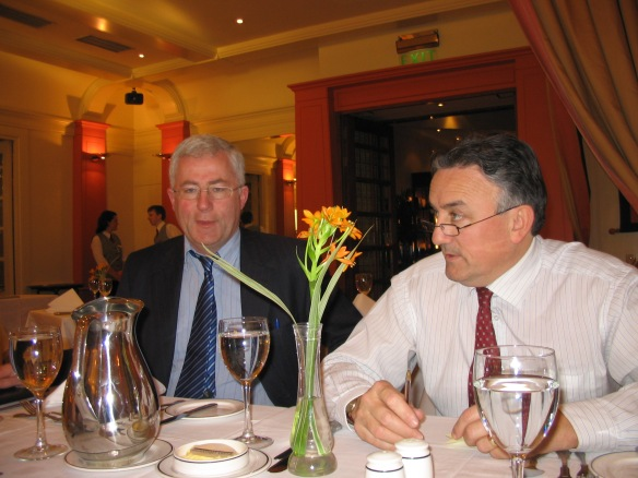 """Lunch with the Gentlemen""—Brendan and Pat at the Burlington Hotel, Dublin, 2006."