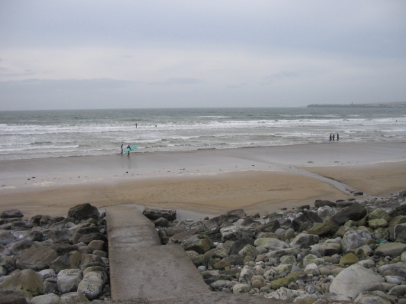 The low-tide beach at Lahinch, February 2006.