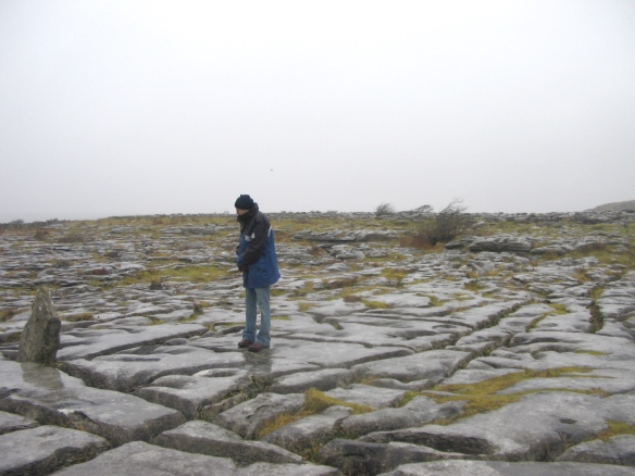 Gerry, staying warm at Poulnabrone.