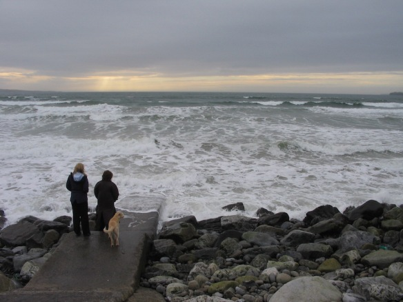 High tide, sunset, at Lahinch, February 2006.