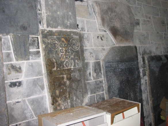 Old gravestones, preserved inside.