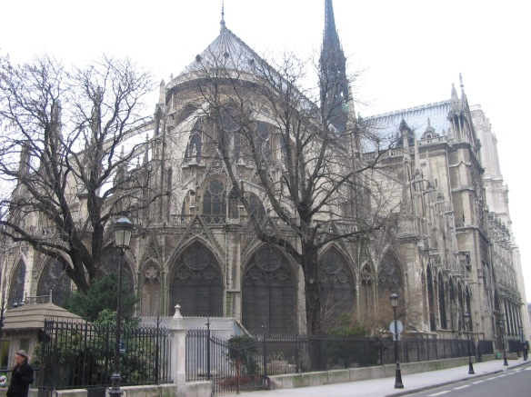 This is the backside. We walked up this street, along the side of Notre-Dame, many, many times. And it's magnificent.