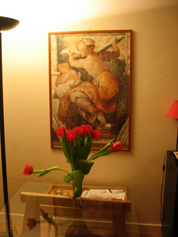 Tulips in the dining room make the place cheery.