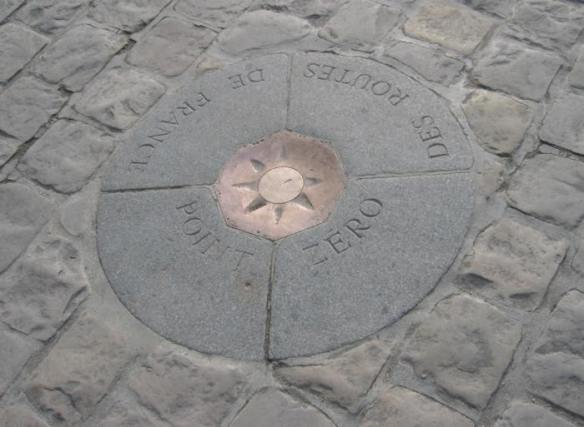 Kilometer Zero stone, in front of Notre-Dame de Paris. Photograph taken by Michael Reeve, 30 January 2004.